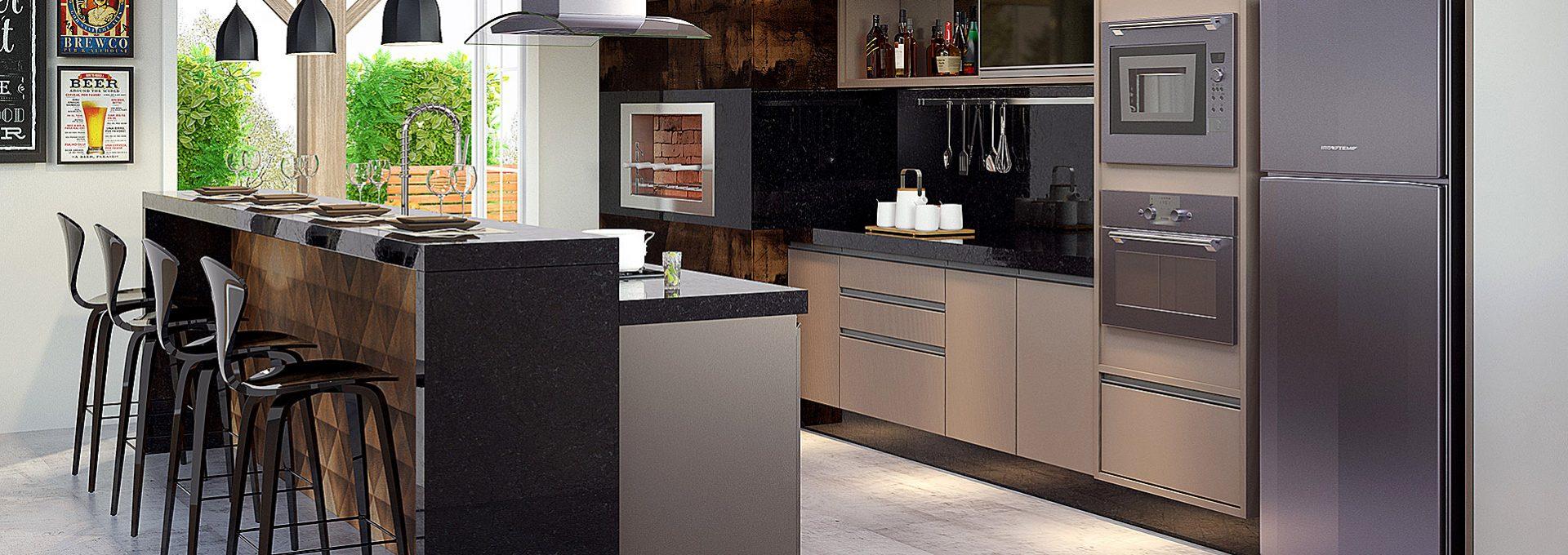 Área Gourmet da Nova Soluções em imagem 3D produzida pelo Studio 25