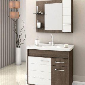 Conjunto Castelli Dakota para banheiro da Paloschi Móveis em imagem produzida pelo Studio 25