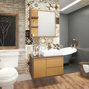Conjunto Rovere para banheiro da Berton Móveis em imagem produzida pelo Studio 25
