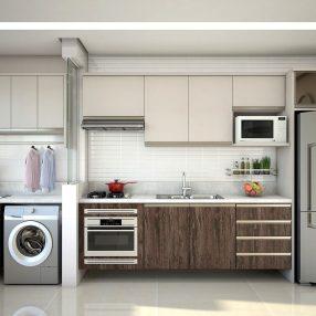 Cozinha compacta com lavanderia da Celmobile em imagem publicitária produzida pelo Studio 25