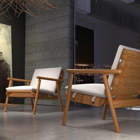 Poltronas da Herval em imagem publicitária produzida pelo Studio 25