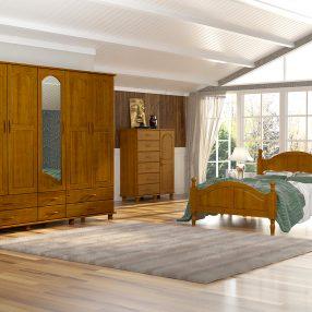 Dormitório rústico Esmeralda da Finestra em imagem produzida em 3D pelo Studio 25