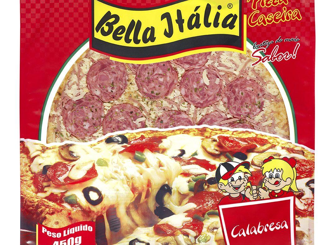 Embalagem de massa de pizza da Bella Itália em imagem produzida pelo Studio 25