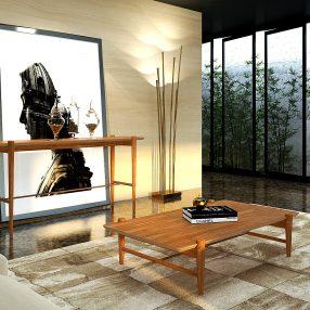 Mesa e aparador da Herval em imagem foto fusão produzida pelo Studio 25